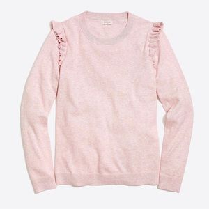 J. Crew ruffle shoulder sweater in pale pink